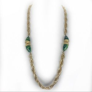 Vtg Accessorco NYC Gold Tone/ Green Bead Necklace